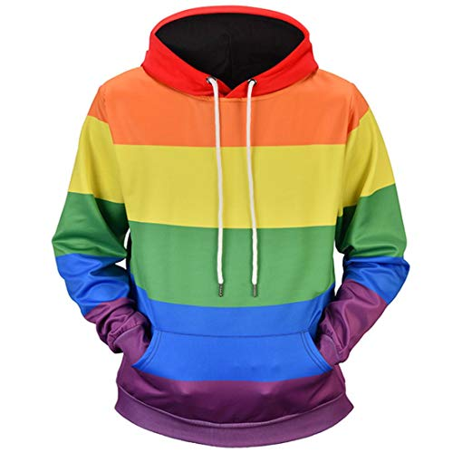 Mens Tops Blouse Shirts Moonuy Men Autumn Winter Mens 4D Printed Rainbow Pullover Long Sleeve Hooded Sweatshirt Tops Blouse Casual Top Blouse Shirts Outwear Handsome for Men