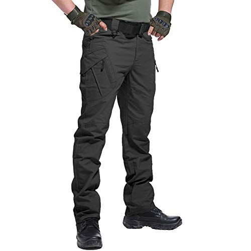CARWORNIC Men's Outdoor Tactical Pants Rip-Stop Lightweight Stretch Military Cargo Work Hiking Pants Black