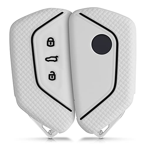 kwmobile Funda de Silicona Compatible con VW Golf 8 Llave de Coche de 3 Botones - Carcasa Suave de Silicona - Case Mando de Auto Blanco/Negro