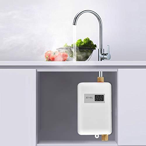 GJCrafts Mini calentador de agua 3800W, calentador de agua instantáneo con pantalla LCD, portátil...