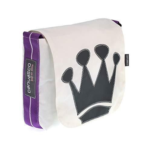 Messenger Bag CANVASCO Mini/Tasche weiß/Gurt lila-weiß/Motiv Krone grau