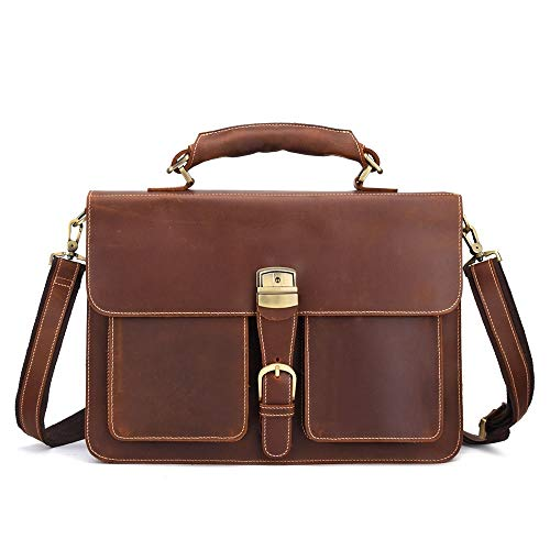 XinMeiMaoYi Outdoor Backpack Men's One-shoulder Bag Leather Business Laptop Briefcase Mad Horse Leather Cross-body Bag 40 * 30 * 15CM (Color : Brown)