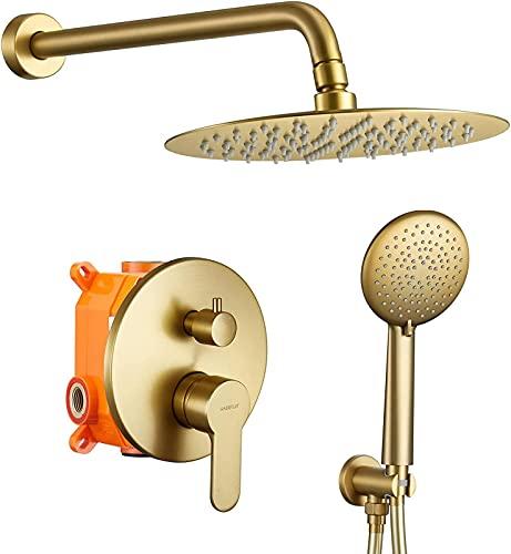 ETRVBSWE Sistema de Ducha, Juego de grifos de Ducha de Pared para baño con Cabezal de Ducha de Lluvia de Acero Inoxidable de Alta presión de 12'y Juego de Ducha de Mano de 5 Posiciones, Ducha de equ