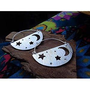 ✿ MOND UND STERNE – KRISTALLENE GEBÜRSTETE VERZIERTE OHRRINGE ✿ seitliche Ohrringe mit Mini Kristallen