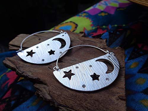 ✿ MOND UND STERNE - KRISTALLENE GEBÜRSTETE VERZIERTE OHRRINGE ✿ seitliche Ohrringe mit Mini Kristallen