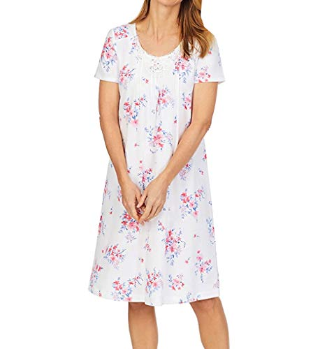 Carole Hochman Women's Short Sleeve, White/Pink Multi, M