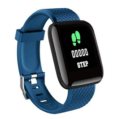 XXY Pantalla De Color Grande A Prueba De Agua Monitor De Ritmo Cardíaco Pedómetro Fitness Tracker USB Carga Directa Deporte Pulsera Inteligente para iOS Android (Color : Blue)