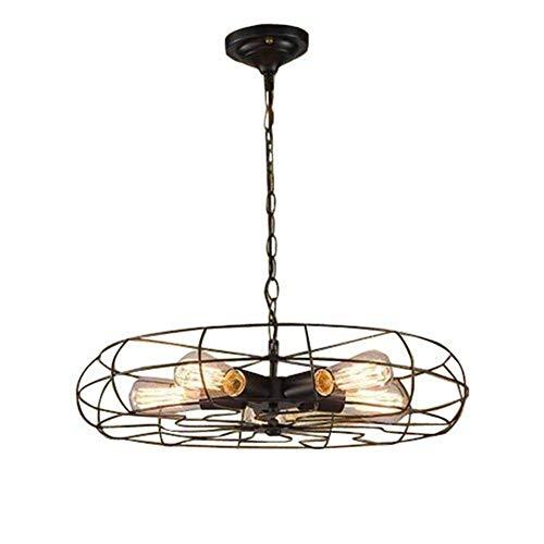 ZfgG Hanglamp, industrieel design, plafondventilator, 5 lampen met plafondlamp, half vijftig
