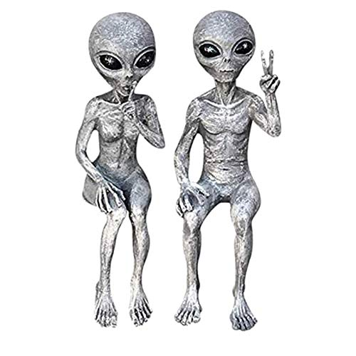 Garden Ornaments Set of 2 Invasion Standing Alien Statues ?Peace & Quiet? 10? H UFO Extraterrestrial Figurine Garden Stakes Set