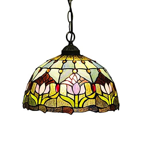 SLJJC 12 Pulgadas de Estilo Tiffany Manchado Colgante luz Vendimia Pastoral Perlas de Cristal Arte Techo Techo lámpara de Techo para salón Cena 110V-240V E27 (Color : Tulip)