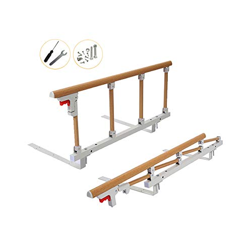 Bed Rail Safety Assist Handle Bed Railing for Elderly & Seniors, Adults, Children Guard Rails Folding Hospital Bedside Grab Bar Bumper Handicap Medical Assistance Devices (1 Pcs, Wood Grain)