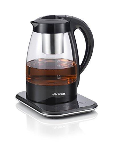 Ariete2867 Tea Maker - Macchina automatica in vetro per tè, infusi e tisane, 1,2 litri, filtro in acciaio inox, display digitale, Nero