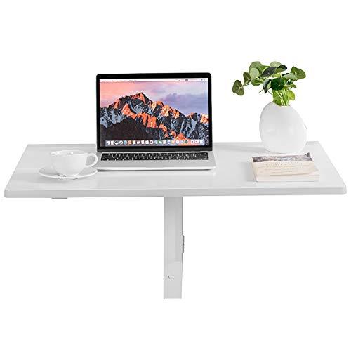 Giantex Wandklapptisch klein, Wandtisch Hängetisch Klappbar 80x60cm, Holz Klapptisch Esstisch Schreibtisch Laptoptisch Wand (weiß)