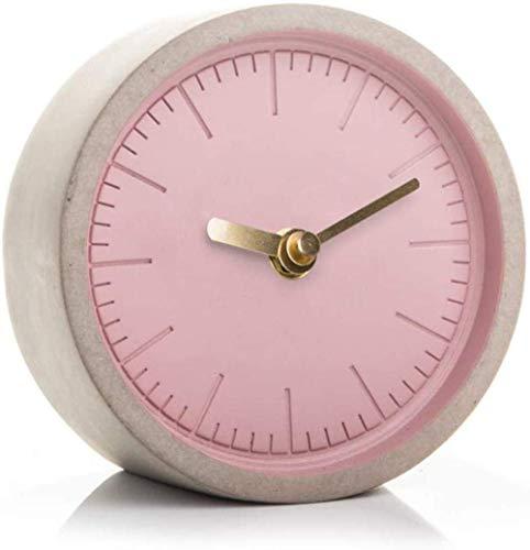 LKOER Trabaja Reloj de hormigón, Gris, 13 x 13 x 6 cm, Gris. jinyang (Color : Pink)