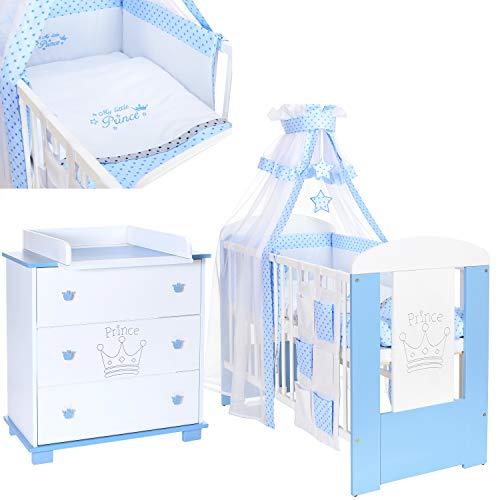 Kinderzimmer Prinz Blau Möbel Komplettset mit Kinderbett 120x60, 9 tlg. Babybett Bettwäsche Bettset, Wickelkommode mit abnehmbaren Wickeltisch