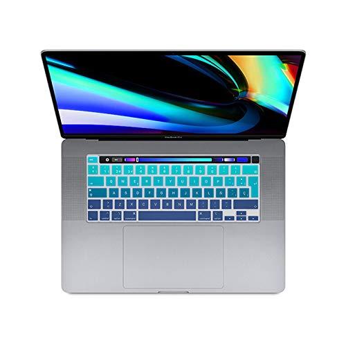 Carcasa de silicona para teclado español, diseño de arco iris, para MacBook Pro 16 2019 A2141 M1 Chip A2338/A2251/A2289 2020+-Ombre verde azul