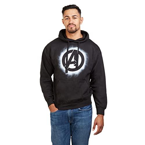 Marvel Avengers Stencil Logo Hood Sudadera con Capucha, Negro (Black Blk), XL para Hombre