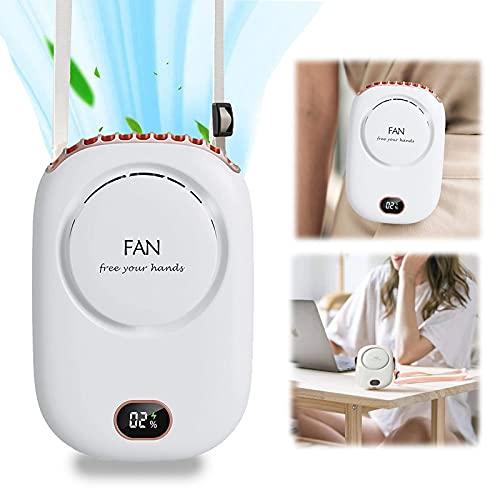 auvstar Mini Ventilador USB Portátil,Ventiladores de Cuello Mano Portátil con Cuerda,Ventilador de Escritorio,3 Velocidades Eléctrico Ventilador Recargable para Oficina,Hogar,Aire Libre Viajes Blanco