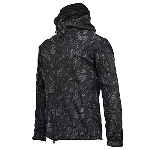 Chaqueta SoftShell impermeable al aire libre Caza cortavientos esquí abrigo senderismo lluvia, Negro, XXXL