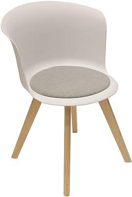 THE HOME DECO FACTORY HD6452 - Juego de 2 sillas Enko Blanco, plástico, 56 x 53 x 75 cm
