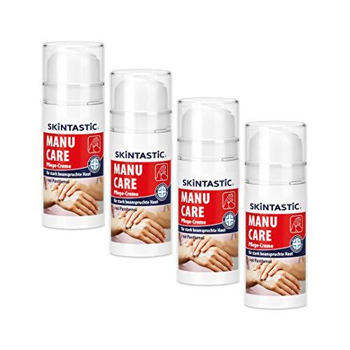 Manu Care Pflege-Creme | 4 x 100 ml | Pumpspender | Handcreme
