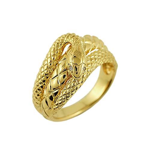 ダイヤモンド 18金 蛇 メンズリング k18 ゴールド ユニセックス 指輪 (22)