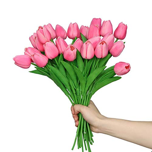 Anaoo 24pcs Flores de Tulipanes Artificiales de Látex, Floras Falsas Pero de Tacto Real Decoración para Banquete de Boda, Hogar, Fiestas, Jardín, Partido del Hotel, Rosado
