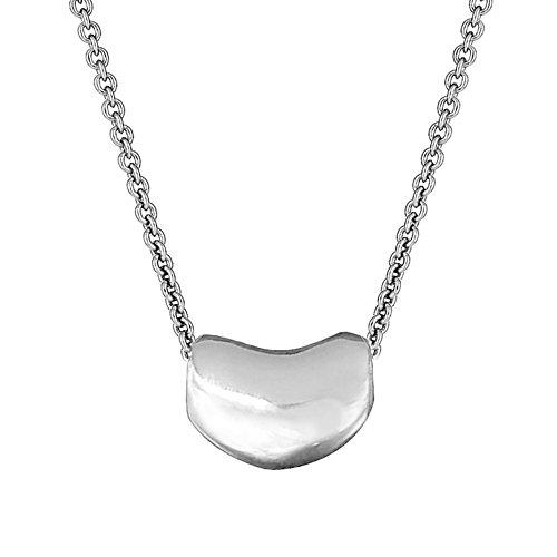 Ritastephens Sterling Silver Kidney Bean Pendant Charm Necklace 18'