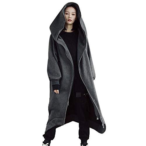 OIKAY Hooded Zipper Pullover Tops Frauen Solide Sweatshirt Langarm Mäntel Bluse Shirt Jacke(Tief grau,EU-38/M)