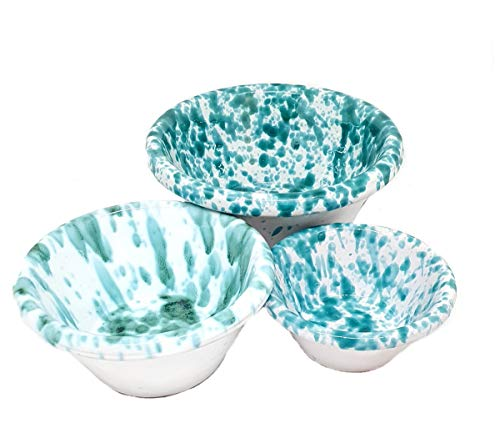 sicilia bedda - Set 3 Ciotole in Ceramica SICILIANA di Caltagirone - 3 Misure per 3 Ciotole di Altissima qualità (Bianco e Verde)