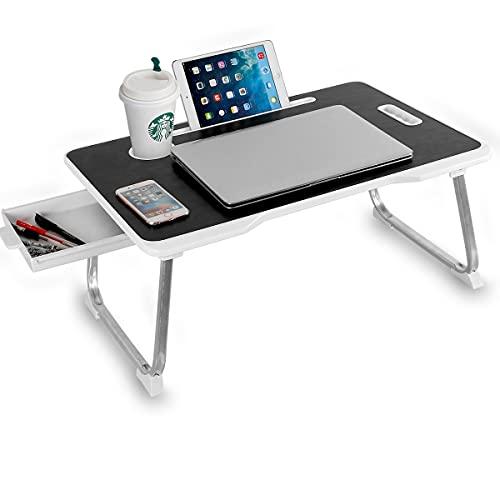 Astory Mesa de cama para ordenador portátil con asa y cajón, portátil, soporte de lectura, con patas plegables, ranura para copa y ranura para tablet para cama, sofá, sofá, suelo (negro)