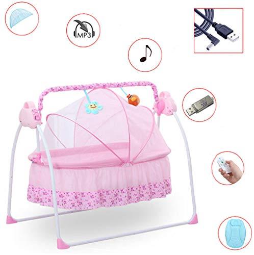 OBLLER Automatik Babyschaukel Automatische Safe Elektrische Baby-Wiege Wippe mit Matte(Rosa)