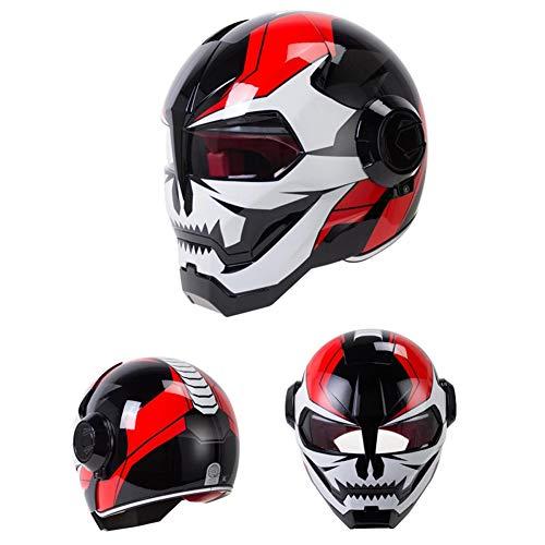 GWSPORT Superpersönlichkeit Motorradhelm BSDDP Iron Man Integralhelm, Harley Transformers Integralhelm im Retrostil,C,XL