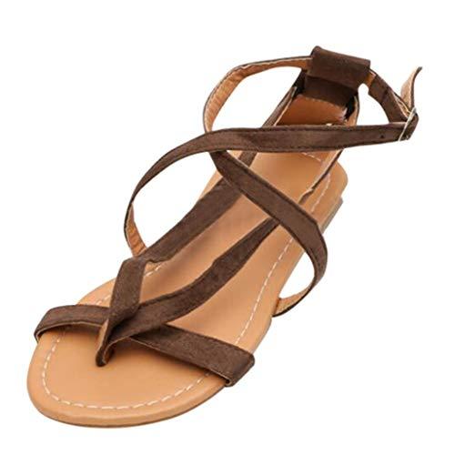 BURFLY Damen T-Riemchen flach mit römischen Sandalen, Zehenspitzen, Boho-Sandalen, rutschfeste Strandschuhe