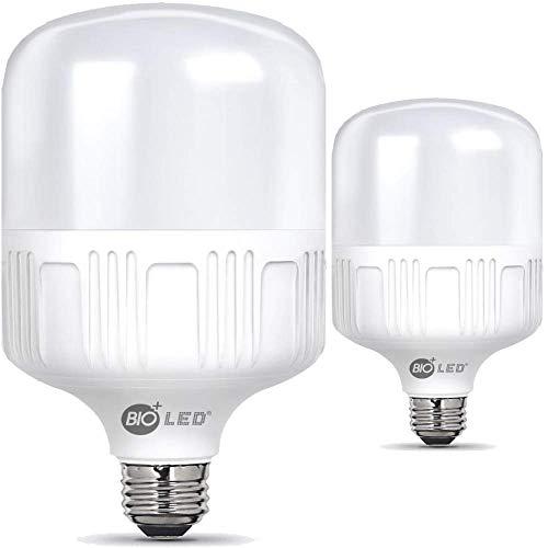 Bioled 50W, 2 Stück, E27 LED Kaltweiß, Ersetzt 500W, LED Birne, 230V, LED Lampe, 5000lm, Glühbirne, 5000K, LED Leuchtmittel, Feuchtigkeitsbeständig
