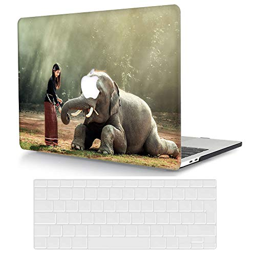 ACJYX MacBook Pro 16 inch Case Bundle 2020 2019 Release A2141, Plastic Protective Hard Shell Cover & Keyboard Cover Skin Compatible with MacBook Pro 16 with Touch Bar - Girl & elephant