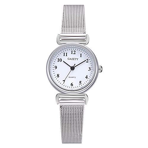 Armbanduhr Damen Ronamick Damen Beiläufige Quarz Maschen Gürtel analoge Armband Uhr Uhren (Weiß)