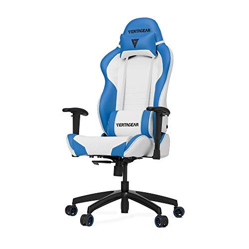 VERTAGEAR S-Line 2000 Gaming Chair, Medium, White/Blue chair gaming white