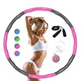 LEJAJA Hoola Hoop for Weight Loss, Hoops with Foam for Fitness, Adjustable Width 48-89 cm, for Adults and Children, Includes Skipping Rope and Tape Measure (Rosa)