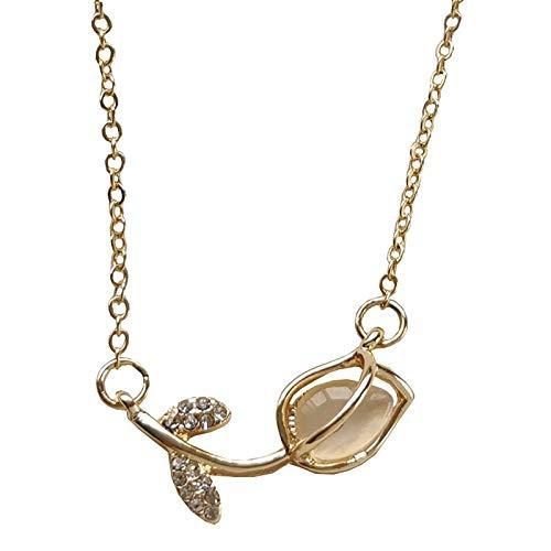 Hunpta - Juego de collar y pendientes para mujer, diseño de rosas de cristal, para niñas, cumpleaños, Navidad, etc.
