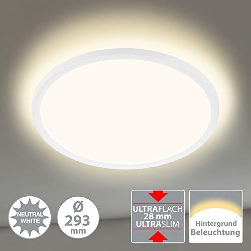 Briloner Leuchten LED Panel, Deckenleuchte, Deckenlampe, inkl. Hintergrundbeleuchtungseffekt, 18 Watt, 2.400 Lumen, 4.000 Kelvin, Weiß, Rund, Ø 29,3cm, W