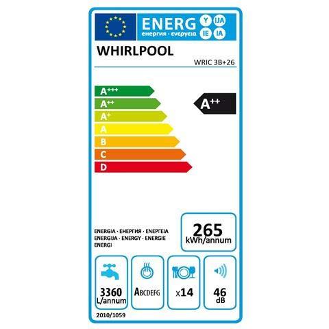 Whirlpool - Lavastoviglie WRIC 3B+26 da Incasso a Scomparsa Totale Classe A++ Capacità 14 Coperti