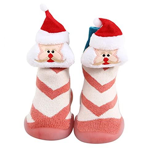 Zapatos de Navidad para bebés, zapatos para niños pequeños, zapatos para aprender a andar, calcetines de Papá Noel, para interiores, suaves, antideslizantes, para niños, E, 20