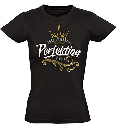 Geburtstags Shirt: 50 Jahre Perfektion - Jahrgang 1970 - Fünfzigster Geburtstag T-Shirt - Geschenk zum 50. - Damen - Frau - Frauen - Freundin - Birthday - Lustig - Witzig Fun Tailliert (M)