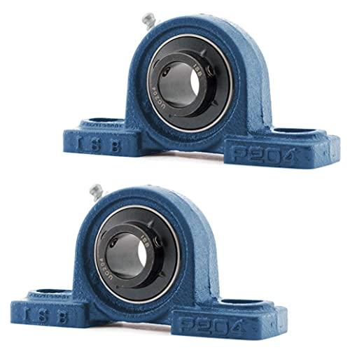 Rodamiento con Soporte UCP 204 | Pack 2 unidades | Cojinete con Eje Interior de 20(mm) | Cojinete con carcasa | Recomendado para: Industria, Bricolaje, Impresora 3D, Fresadoras