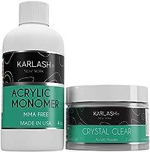 Karlash Professional Polymer Kit Acrylic Powder Crystal Clear 2 oz and Acrylic Liquid Monomer 4 oz for Doing Acrylic Nails, MMA free, Ultra Shine and Strong Nails Acrylic Nail Kit