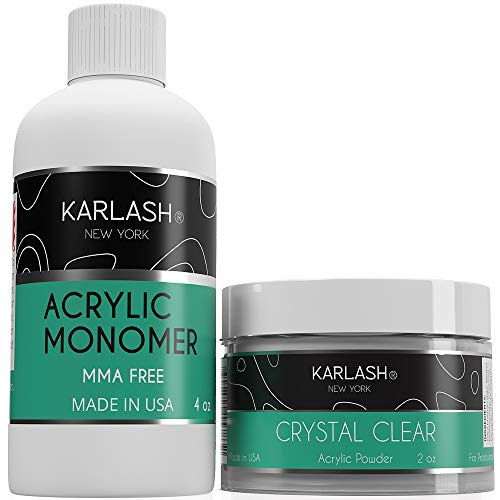 Karlash Professional Polymer Kit Acrylic Powder Crystal Clear 2 oz and Acrylic Liquid Monomer 4 oz for Doing Acrylic Nails, MMA free, Ultra Shine and Strong Nails Acrylic Nail Kit