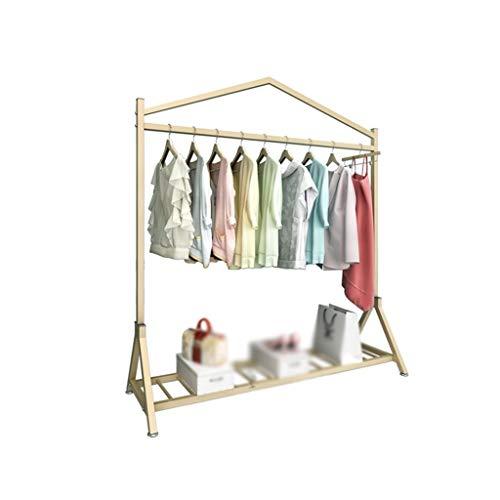 KangJZ Bastidores Coat creatividad, simplicidad for suelo de ropa Tienda de ropa del estante de la princesa de la falda de barras horizontales ropa del metal del carril de niños ahorra espacio