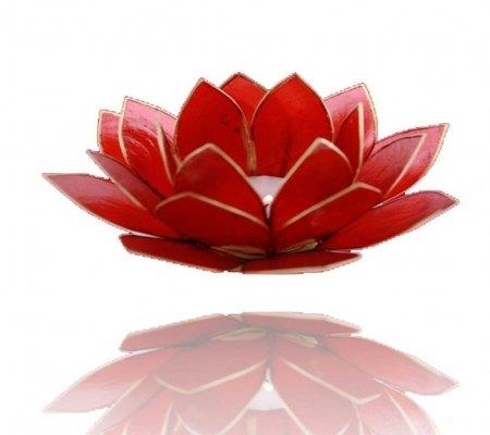 Trimontium Teelichthalter Rubinrot in Form Einer dreiblättrigen Lotusblüte, Capiz-Muschel, rot, 14 x 14 x 8 cm