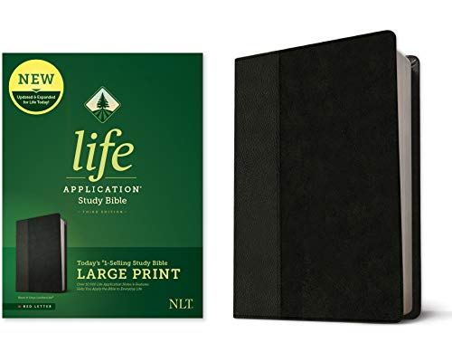 Tyndale NLT Life Application Study Bible, Third Edition, Large Print (LeatherLike, Black/Onyx, Red Letter) – New Living Translation Bible, Large Print Study Bible for Enhanced Readability